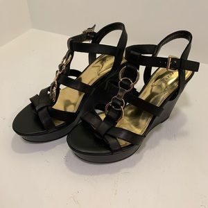 Marc Fisher black leather wedges size 8